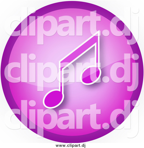 Clipart of a Purple Round Music Note Icon Button