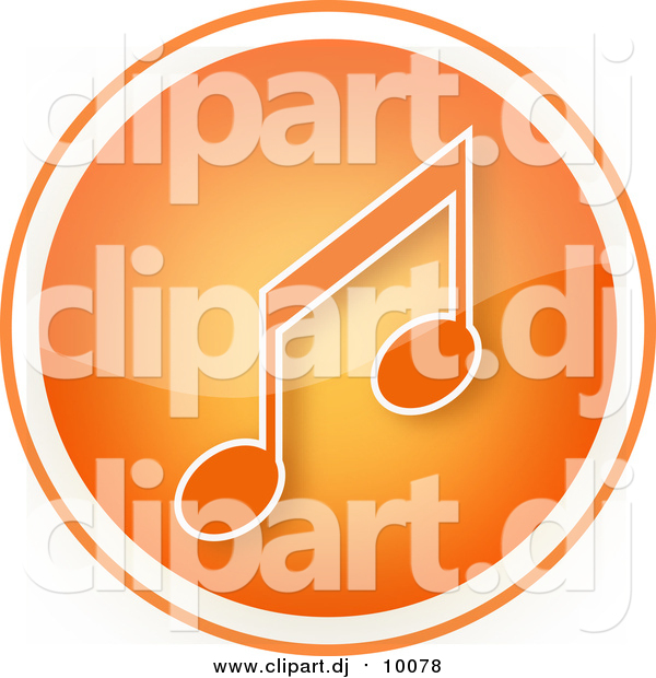 Clipart of a Shiny Orange Music Note Icon Button