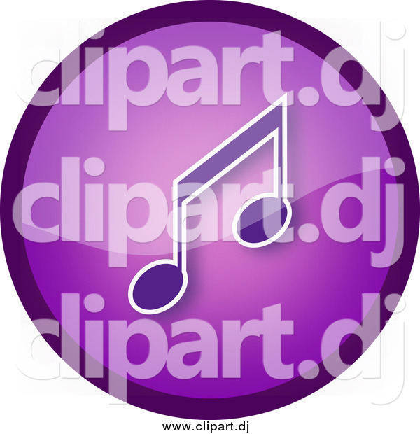 Clipart of a Shiny Round Purple Music Note Icon Button