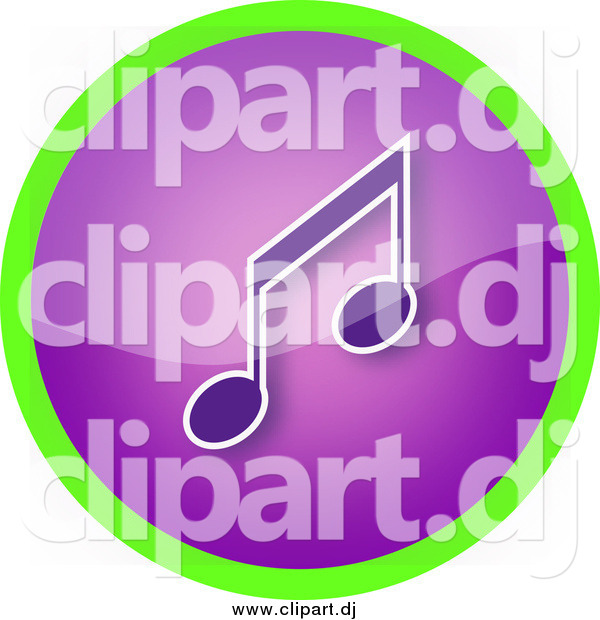 Clipart of a Shiny Round Purple Music Note Icon Button Circled in Green
