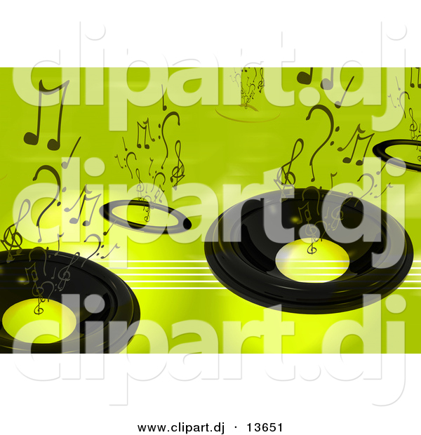 Clipart of a Speaker Background - Green Version with Music Notes