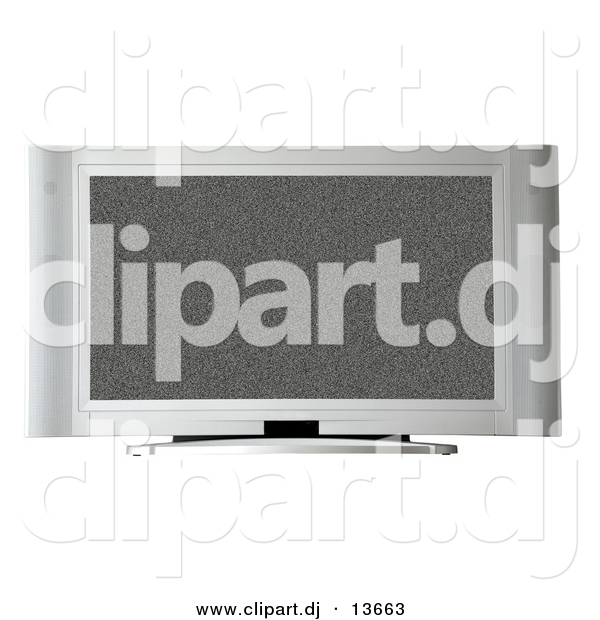 Clipart of a Television with White Noise on Screen