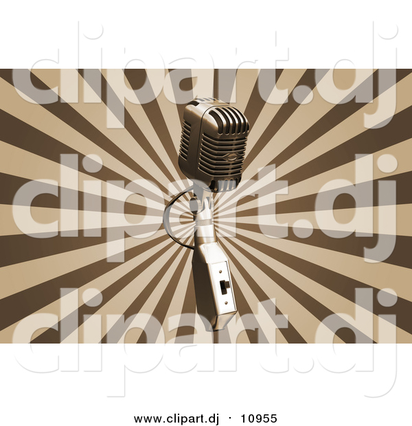 Clipart of a Vintage Microphone over a Bursting Brown and Tan Background