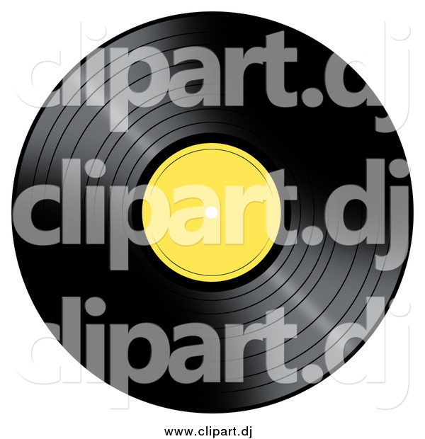 Clipart of a Vinyl Record with a Yellow Label