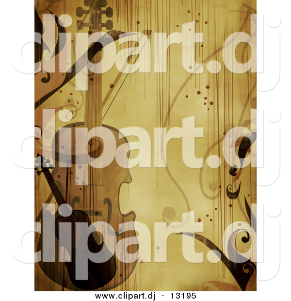 Clipart of a Violin with Vines - Grunge Background Design