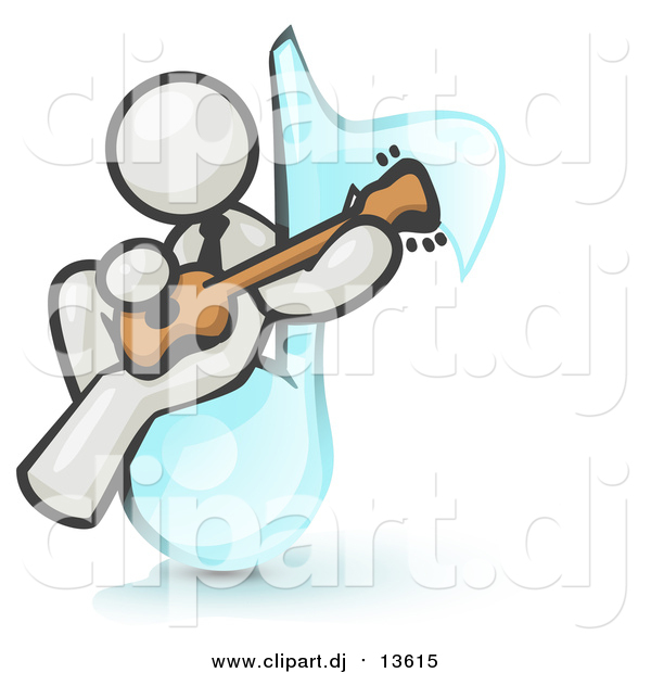 Clipart of a White Man Musician Sitting on a Music Note and Playing a Guitar