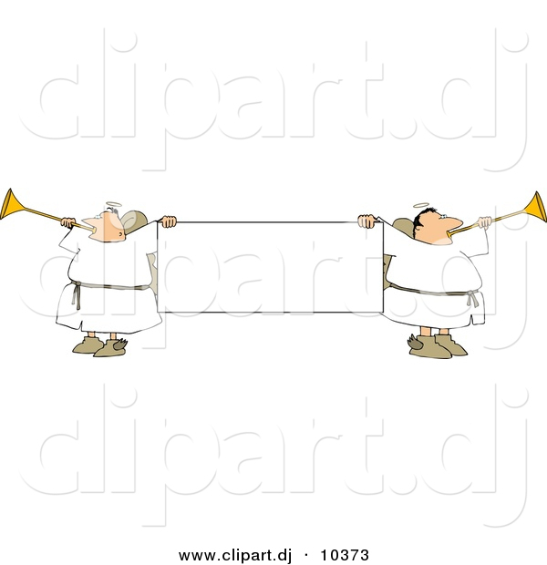 Clipart of Cartoon Angels Playing Horns While Holding Blank Sign