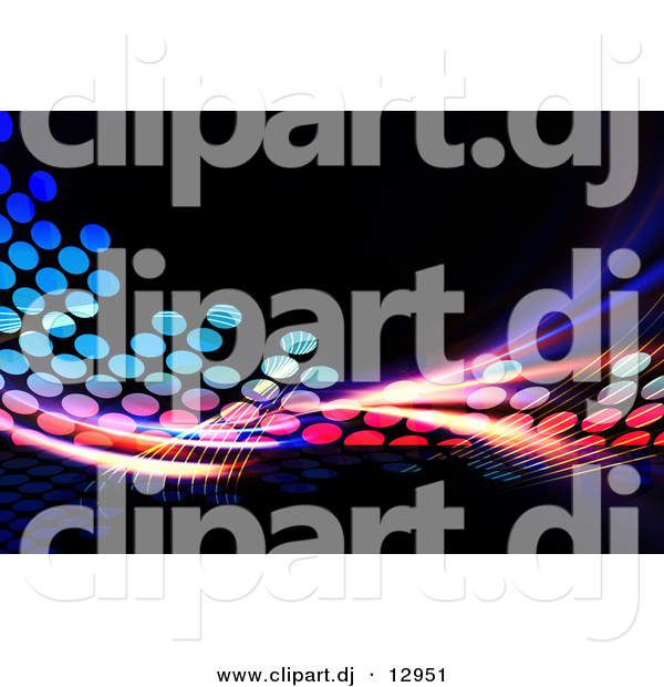 Clipart of Colorful Equalizer Fractals over Black Background