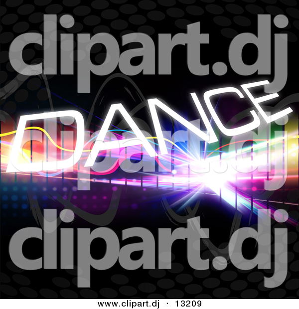 Clipart of Dance Text Within Bright Colorful Squares on a Black Background