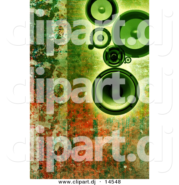 Clipart of Green Speakers over Rusty Background Design