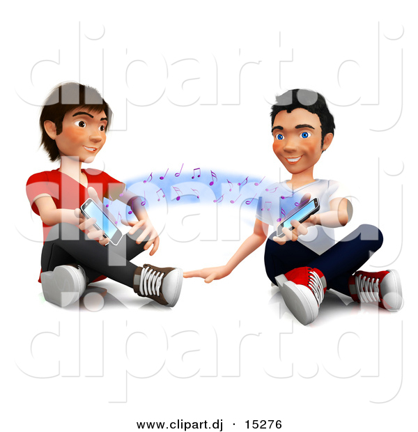 Clipart of Happy 3d Kids Sharing Music with Their Cell Phones