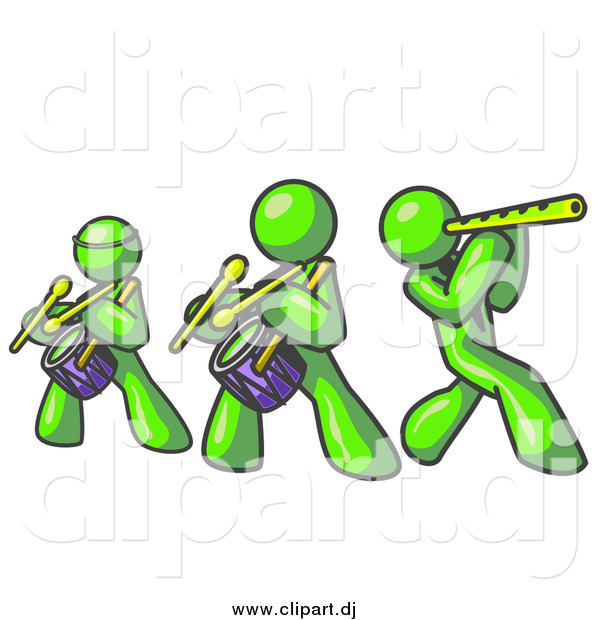 Clipart of Lime Green Men Playing Flutes and Drums