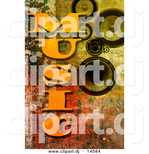Clipart of MUSIC Word over Speakers on Rusty Background