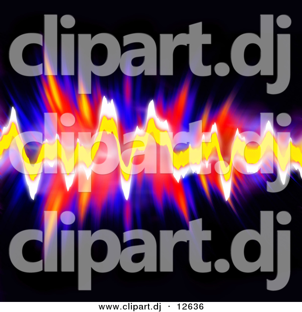 Clipart of Neon Audio Equalizer Waves over Black Background