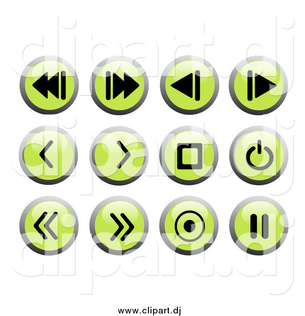 Clipart of Round Green and Black Recording Web Design Icons