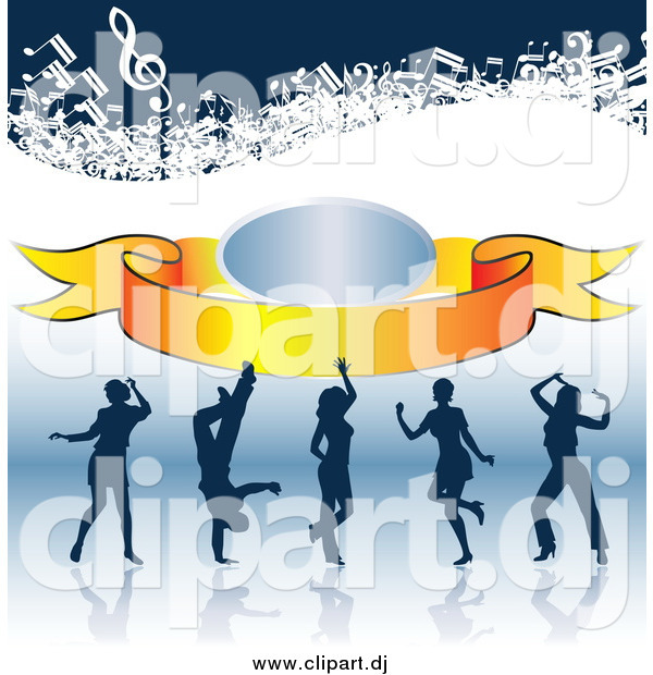 Clipart of Silhouetted Dancers on a Reflective Surface, with a Banner and Music Notes