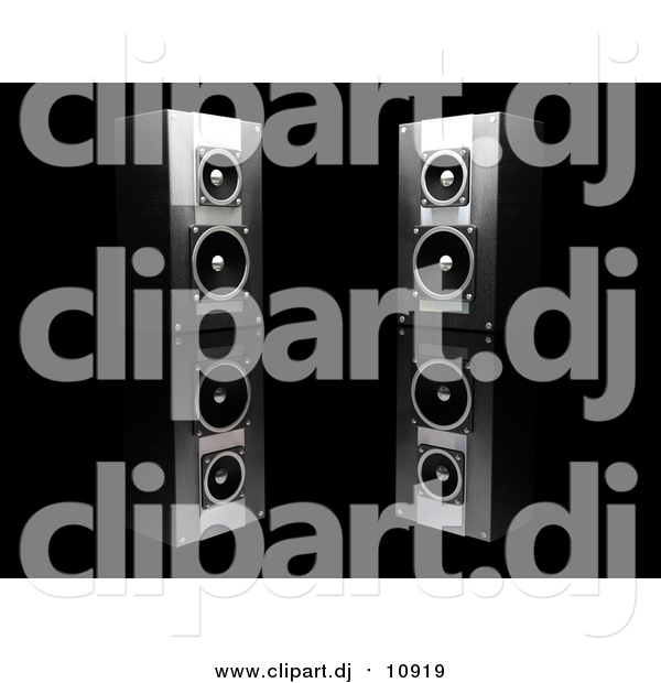 Clipart of Stereo Speakers Facing Slightly Towards Each Other, on a Reflective Black Surface