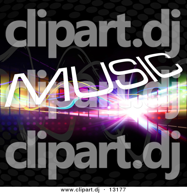 Clipart of White Music Text Composited over Colorful Squares and Black Background