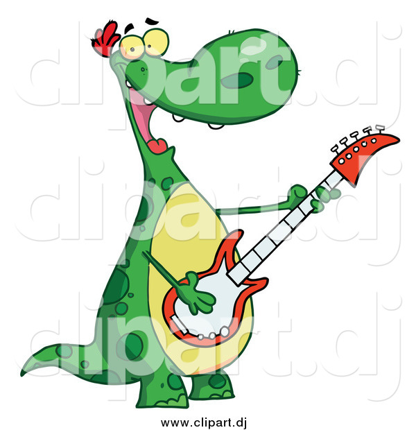 Vector Clip Art of a Cartoon Dinosaur Playing Guitar While Smiling