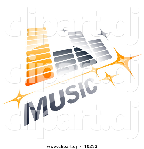 Vector Clipart Logo of Music Equalizer with Stars and Sample Text - Orange and Gray Version