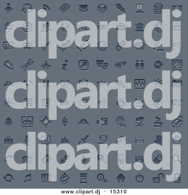 Vector Clipart of 100 Embossed Blue Internet or Web Browser Icons