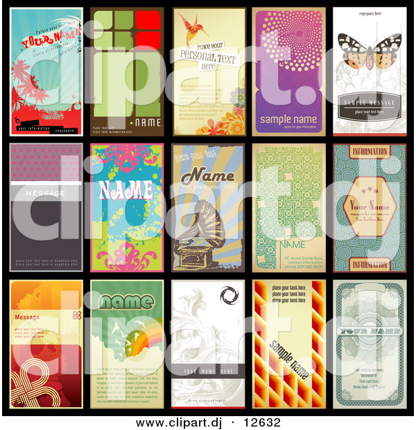 Vector Clipart of 15 Unique Retro Designed Vertical Business Cards - Grammophone Included on One - Digital Collage
