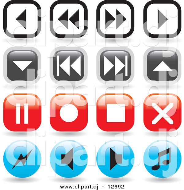 Vector Clipart of 16 Music Player Icon Buttons - Round and Square Designs - Digital Collage