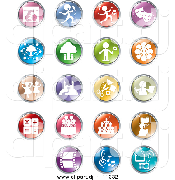 Vector Clipart of 19 Unique Entertainment and Business Circle Button Icons