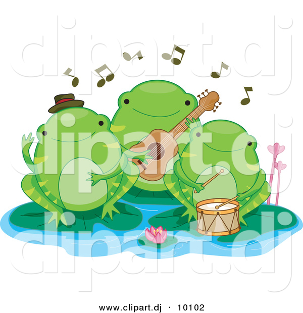 Vector Clipart of 3 Cartoon Green Frogs Playing Music on Lily Pads