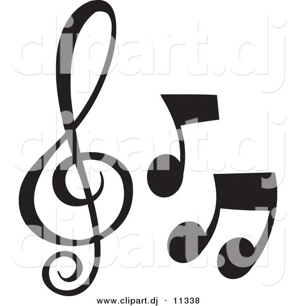 Vector Clipart of 3 Music Notes - Black and White Collage