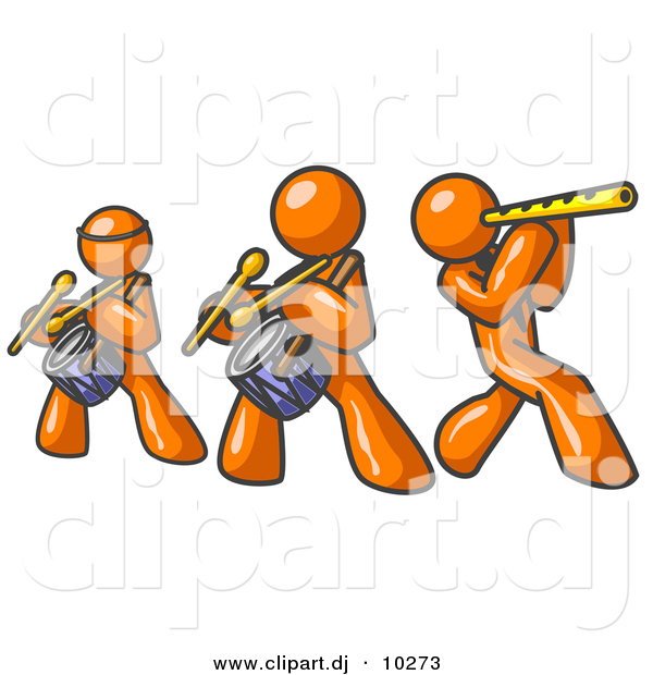 Vector Clipart of 3 Orange Men Playing Flutes and Drums