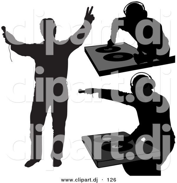 Vector Clipart of 3 Unique DJ Silhouettes - Digital Collage