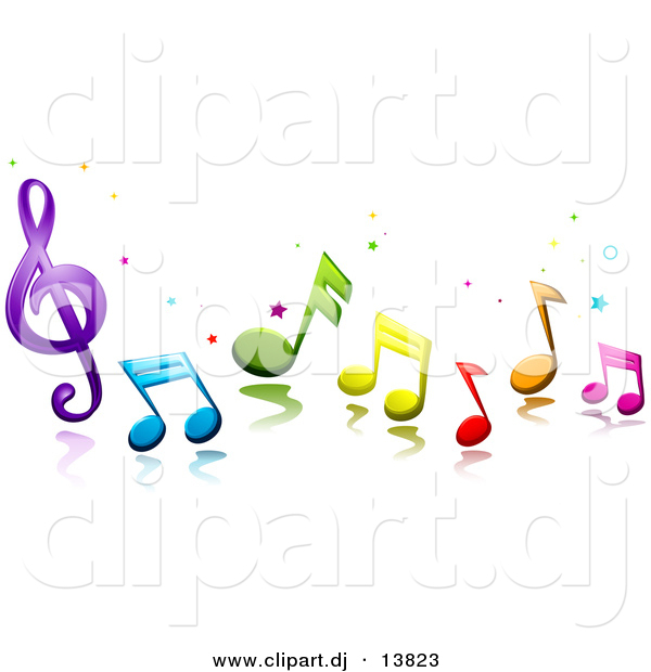 Vector Clipart of 3d Colorful Music Notes and Stars