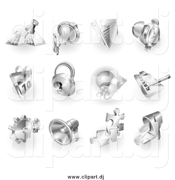 Vector Clipart of 3d Shiny Metal Navigation, Audio, News, Alarm Clock, Calendar, Security, Checklist, Gear, Megaphone, Solutions and Mail App Icons