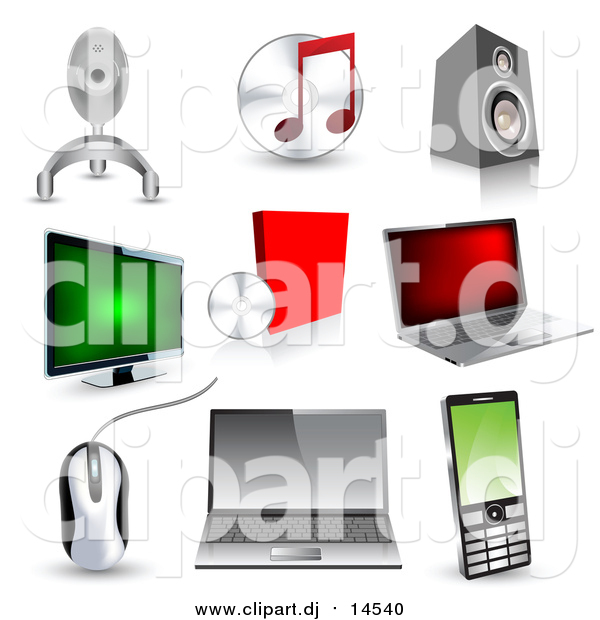 Vector Clipart of 3d Technology Icons