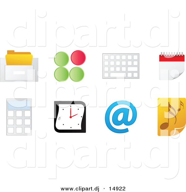 Vector Clipart of 8 Unique Office Computer Icons with Music Note