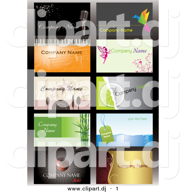 Vector Clipart of a 10 Business Card Templates with Sample Text - Digital Collage