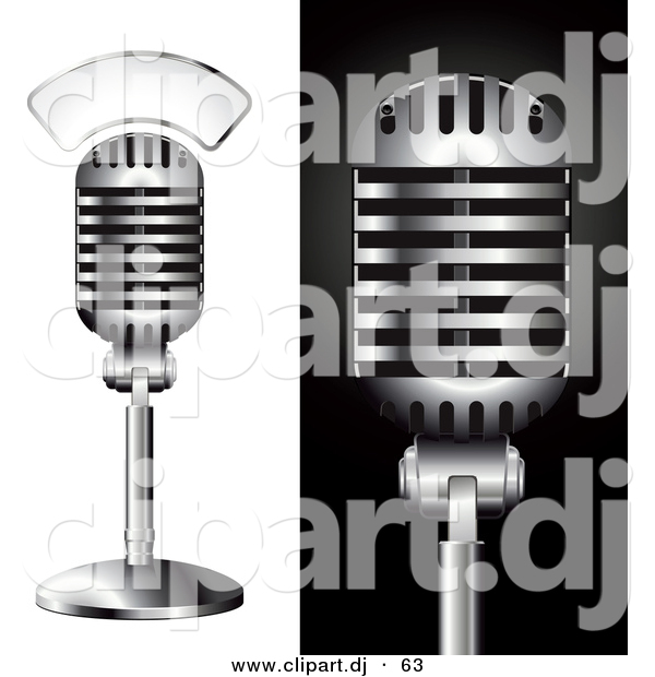 Vector Clipart of a 2 Metal Studio Microphones - Digital Collage ...