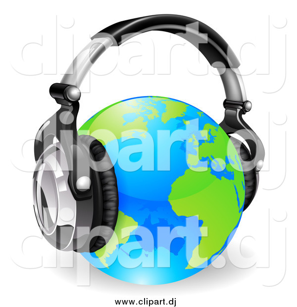 Vector Clipart of a 3d Blue and Green Globe Wearing Noise Canceling Music Headphones