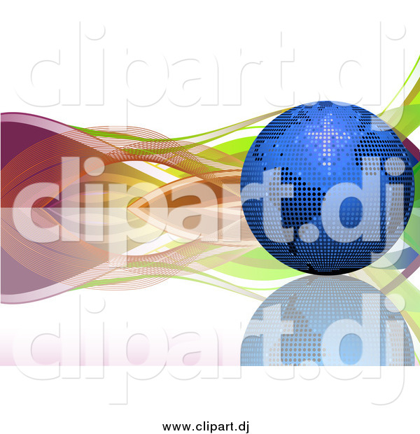 Vector Clipart of a 3d Blue Mosaic Disco Ball Earth on a Reflective Surface, with Colorful Waves