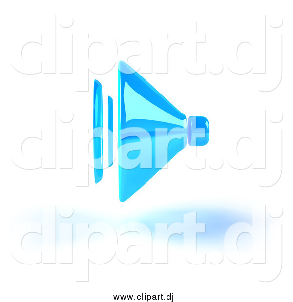 Vector Clipart of a 3d Blue Speaker and Shadow