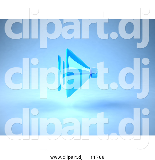 Vector Clipart of a 3d Blue Speaker