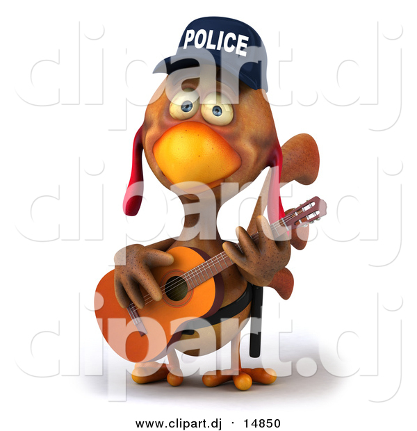 Vector Clipart of a 3d Brown Police Chicken Guitarist