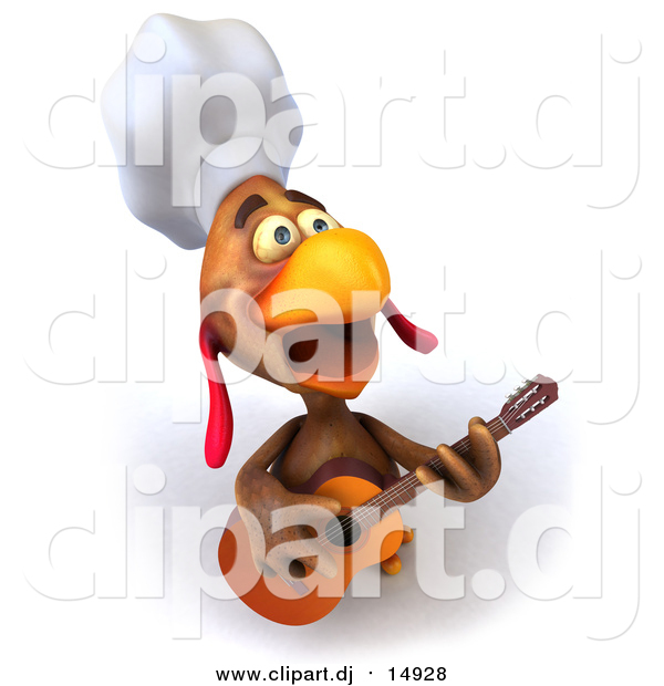 Vector Clipart of a 3d Brown Rooster Chef Guitarist