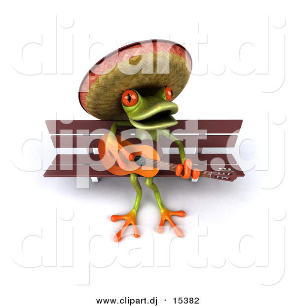 Vector Clipart of a 3d Busker Mexican Guitarist Frog Playing on a Bench