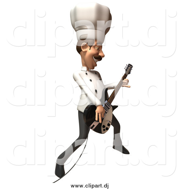 Vector Clipart of a 3d Chef Playing an Electric Guitar