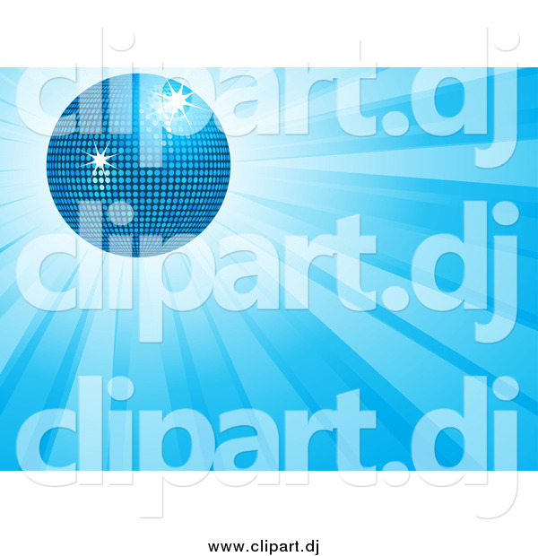 Vector Clipart of a 3d Disco Ball over a Burst of Blue Light Rays