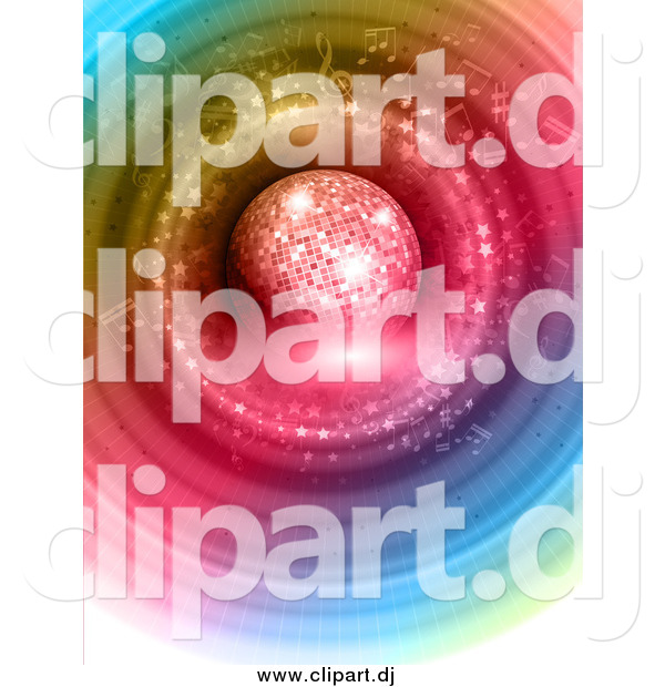 Vector Clipart of a 3d Disco Ball over Colorful Circles and Music Notes