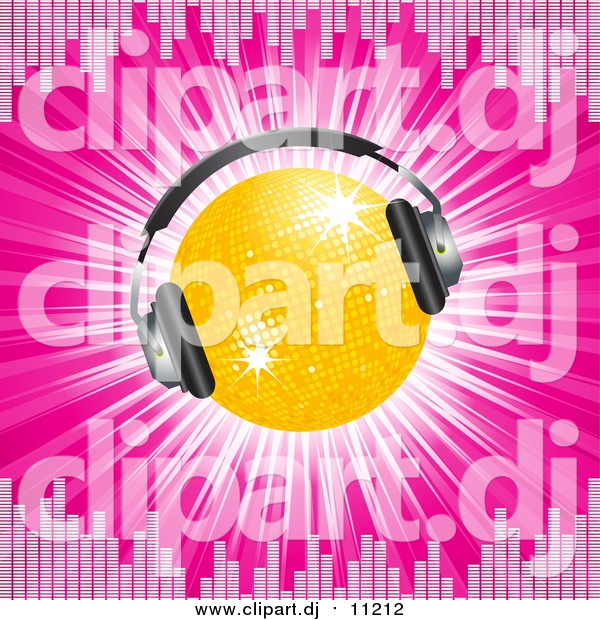 Vector Clipart of a 3d Disco Ball Wearing Headphones, on a Bursting Pink Background Bordered by Equalizer Lines