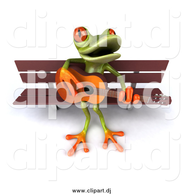 Vector Clipart of a 3d Frog Playing a Guitar on a Park Bench